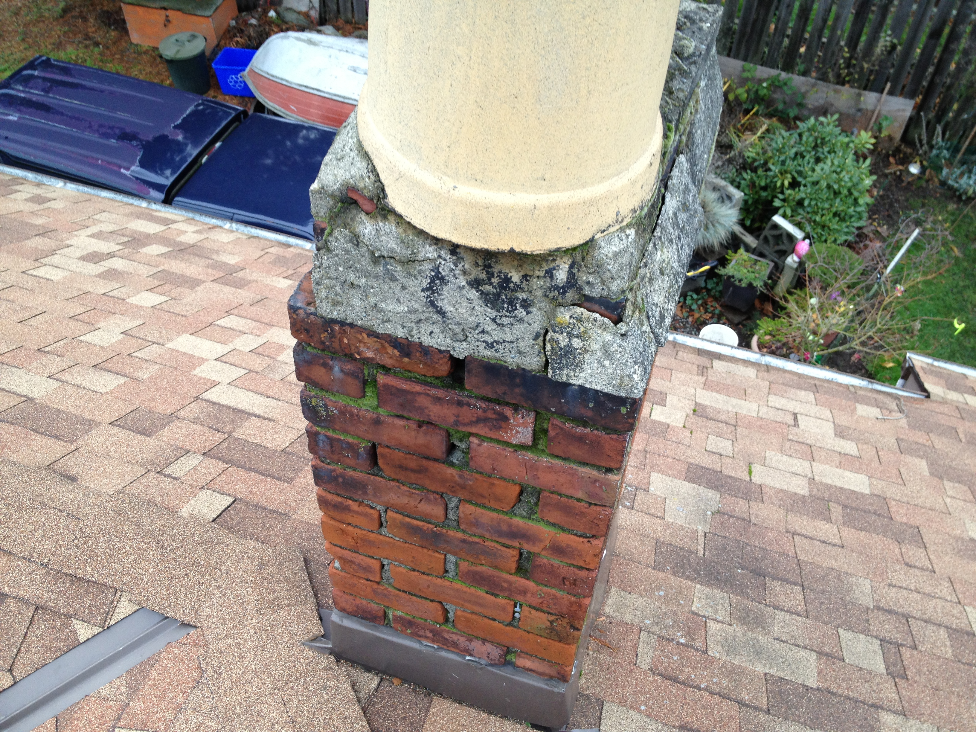 Deteriorated Chimney Crown