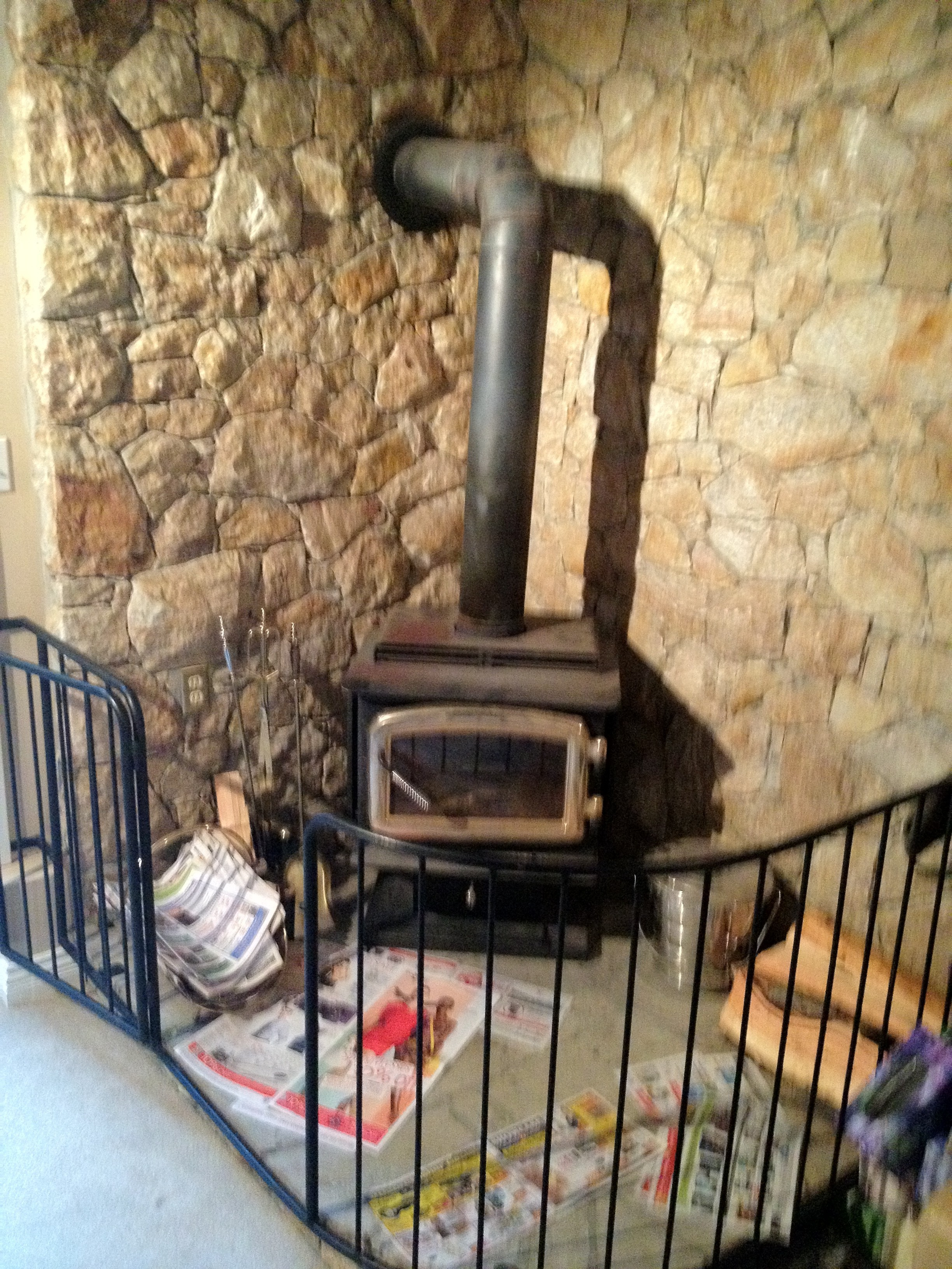 Wood Burning Stove with Safety Rail